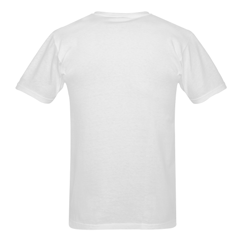 Happycat_men_white Men's T-Shirt in USA Size (Two Sides Printing)