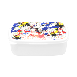 Blue and Red Paint Splatter White Children's Lunch Box