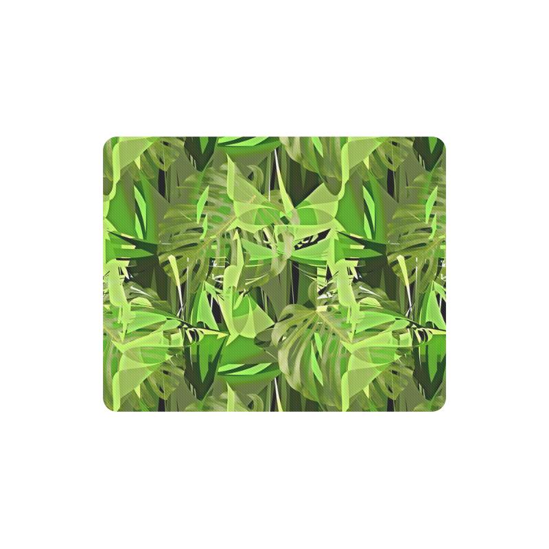 Tropical Jungle Leaves Camouflage Rectangle Mousepad