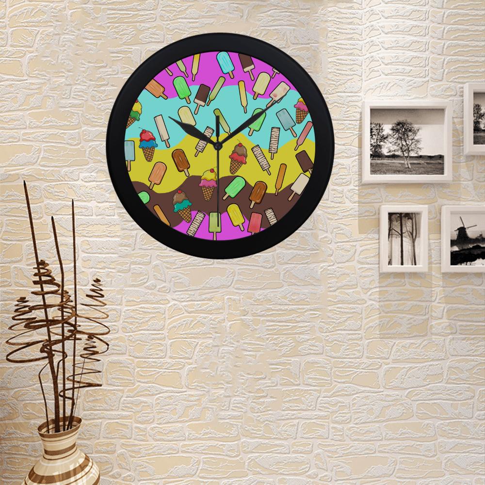 Ice Cream Treats Illustration Circular Plastic Wall clock
