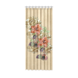 "leather flowers on suede Window Curtain 52"" x 120""(One Piece)"