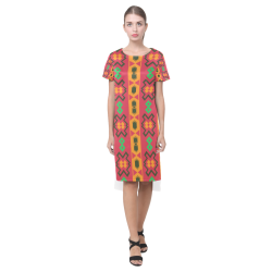 Tribal shapes in retro colors (2) Short Sleeves Casual Dress(Model D14)