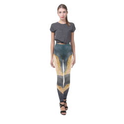 black and gold Cassandra Women's Leggings (Model L01)