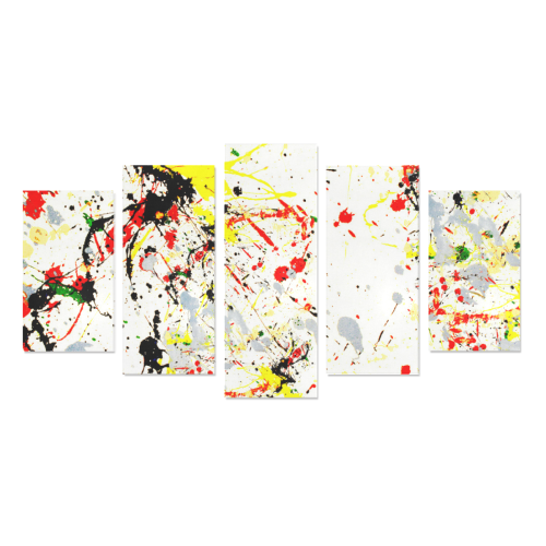 Black, Red, Yellow Paint Splatter Canvas Print Sets A (No Frame)