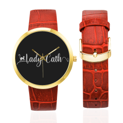 Lady Cath White Logo Women's Golden Leather Strap Watch(Model 212)