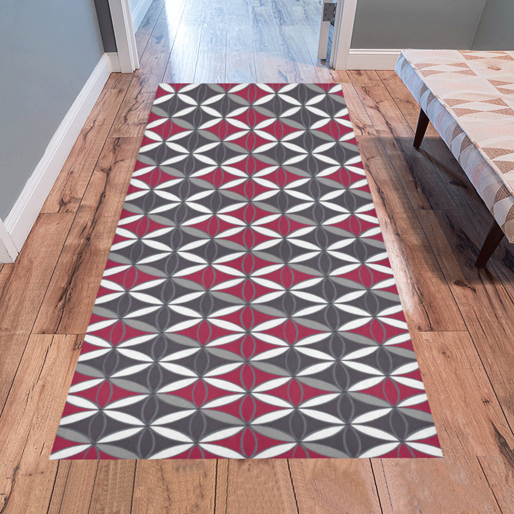 Vintage Rug Pattern Red Grey Area Rug 7'x3'3''