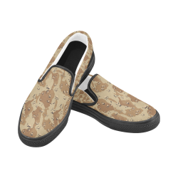 Vintage Desert Brown Camouflage Women's Unusual Slip-on Canvas Shoes (Model 019)