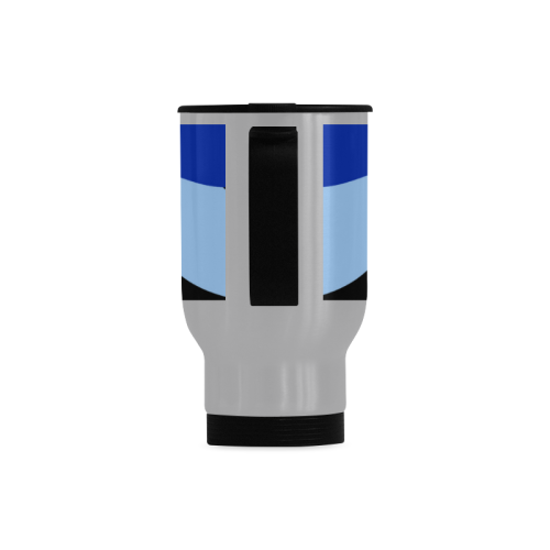 Camouflage Abstract Blue and Black Travel Mug (Silver) (14 Oz)