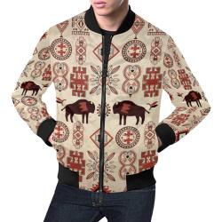 American Native Buffalo All Over Print Bomber Jacket for Men (Model H19)
