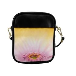 Gerbera Daisy - Pink Flower on Watercolor Yellow Sling Bag (Model 1627)