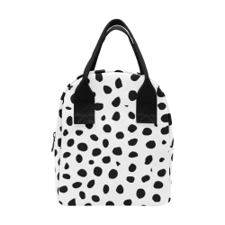 Black and White Seamless Cheetah Spots Zipper Lunch Bag (Model 1689)