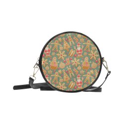 Christmas Gingerbread Icons Pattern Round Sling Bag (Model 1647)
