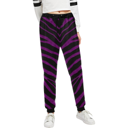 Ripped SpaceTime Stripes - Purple Women's All Over Print Sweatpants (Model L11)