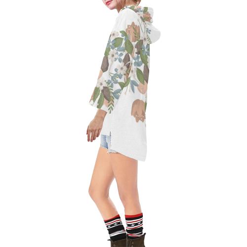 Bouquet Step Hem Tunic Hoodie for Women (Model H25)