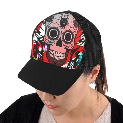 SKULL CULT TRIBAL RED Trucker Hat H (Front Panel Customization)