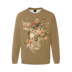 Awesome Autumn Sugarskull Men's Oversized Fleece Crew Sweatshirt/Large Size(Model H18)