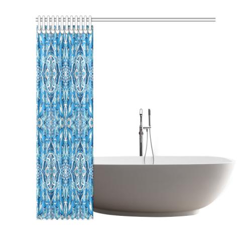 "Elaborate Elegant Abstract Mandala in Shades of Blue Shower Curtain 72""x72"""