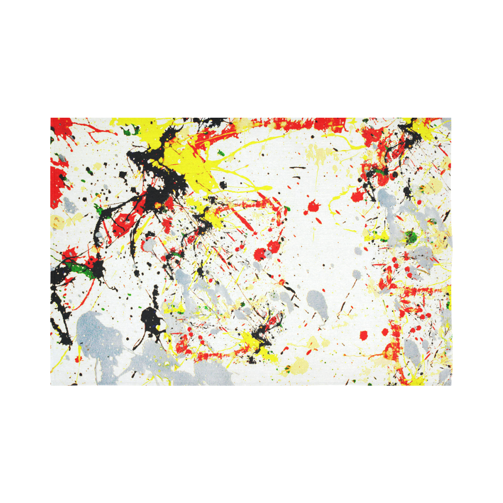 """Black, Red, Yellow Paint Splatter Cotton Linen Wall Tapestry 90""""x 60"""""""