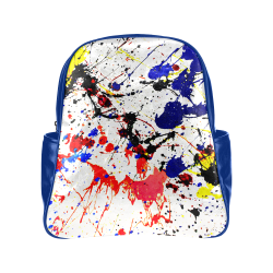 Blue & Red Paint Splatter (Blue) Multi-Pockets Backpack (Model 1636)