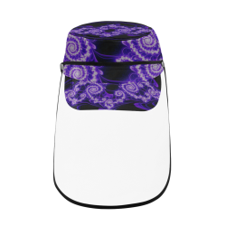 Delicate Purple Blue White Lace Fractal Abstract Military Style Cap (Detachable Face Shield)