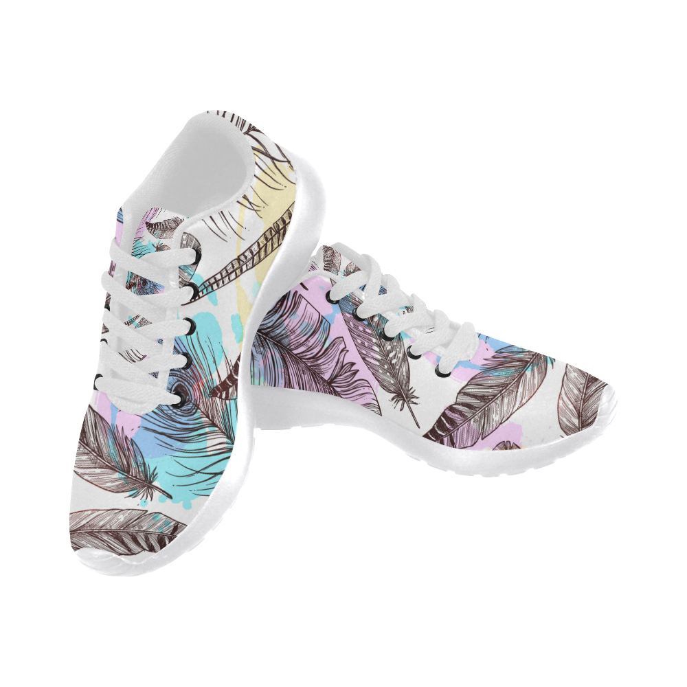 Peacock Feathers Shoes, Watercolor Feather Women's Running Shoes (Model 020)