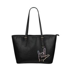 Pastel ASL I Love You Leather Tote Bag/Large (Model 1651)