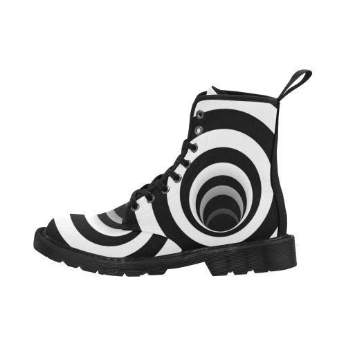 Optical Illusion Black Hole Rings (Black/White) Martin Boots for Men (Black) (Model 1203H)