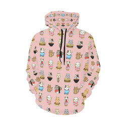 pink All Over Print Hoodie for Women (USA Size) (Model H13)