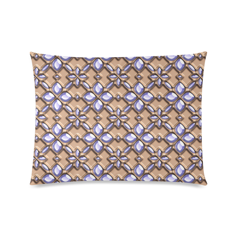 """Blue glass pattern in brown background. Custom Picture Pillow Case 20""""x26"""" (one side)"""