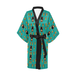 Happy rabbits in the green free grass Kimono Robe