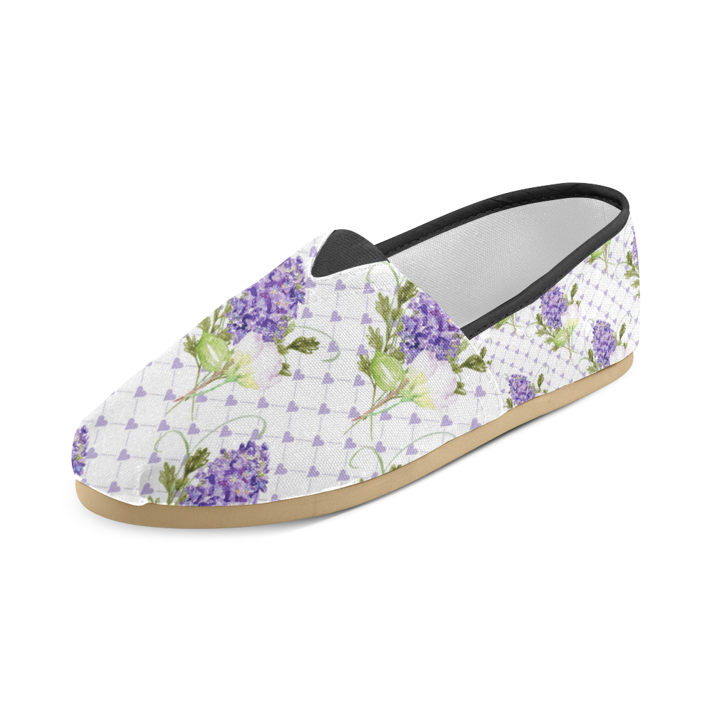 Lavender Flower Shoes, Floral Unisex Casual Shoes (Model 004)
