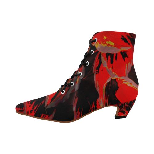 Dark Red Flower Crew Women's Pointed Toe Low Heel Booties (Model 052)