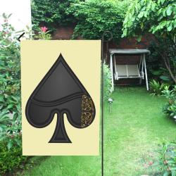 Spade  Symbol Las Vegas Playing Card Shape on Yellow Garden Flag 12''x18''(Without Flagpole)