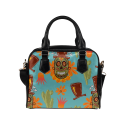 Sugar Skull Shoulder Handbag (Model 1634)