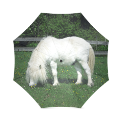 White pony photo print umbrella Foldable Umbrella (Model U01)