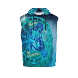 aquarius blue All Over Print Sleeveless Hoodie for Men (Model H15)