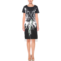 Phoenix - Abstract Painting Bird White 1 Short Sleeves Casual Dress(Model D14)