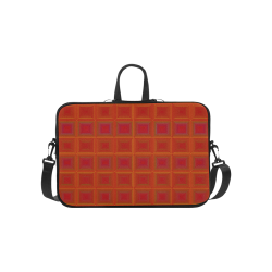 "Red orange golden multicolored multiple squares Laptop Handbags 14"""