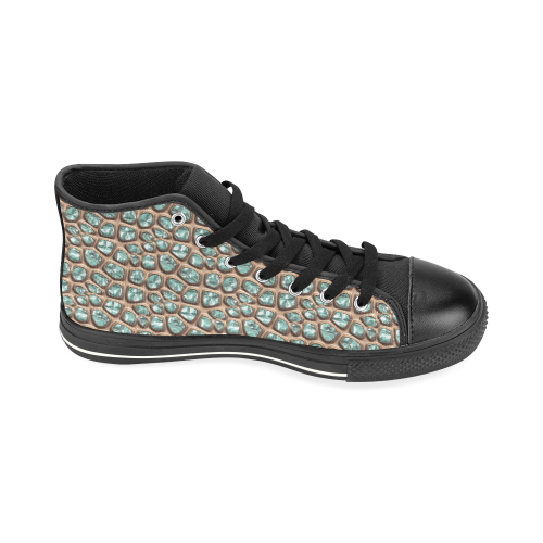 Green crystals High Top Canvas Shoes for Kid (Model 017)