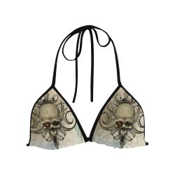 Creepy skull, vintage background Custom Bikini Swimsuit Top