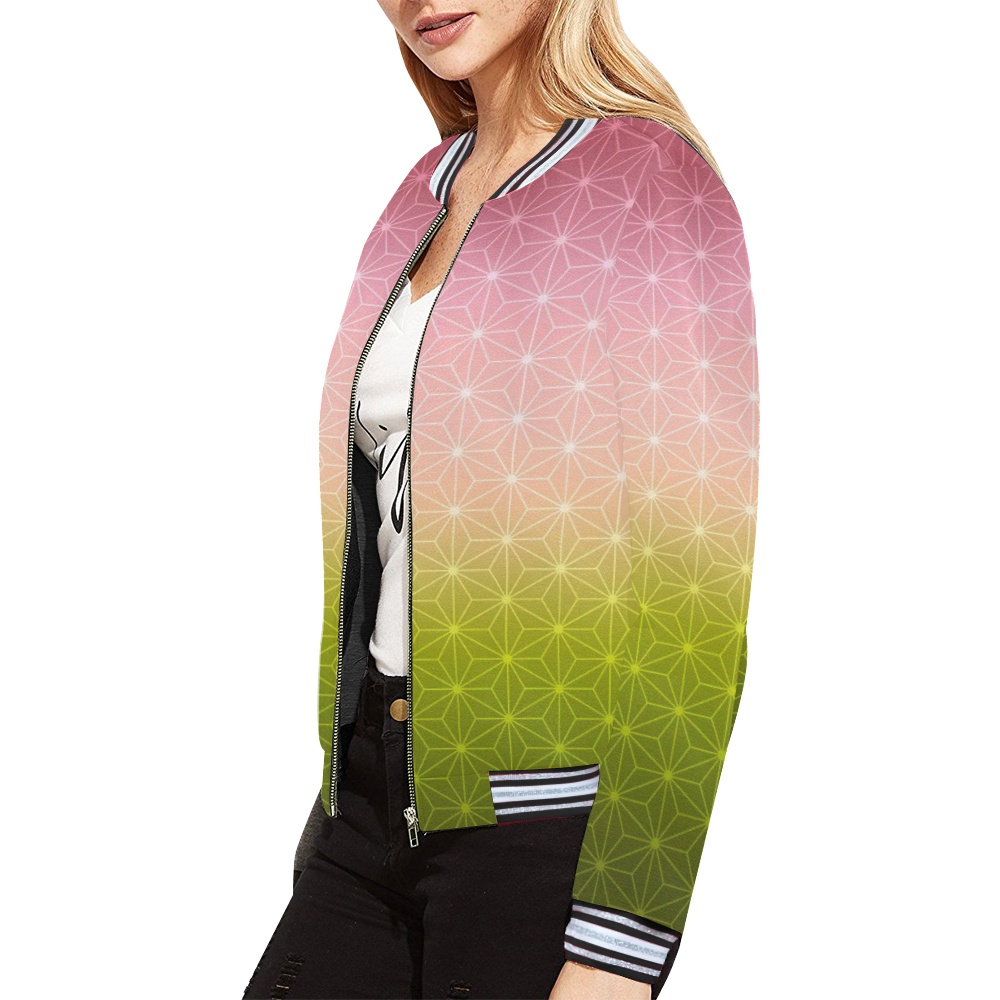 01 SPRING All Over Print Bomber Jacket for Women (Model H21)
