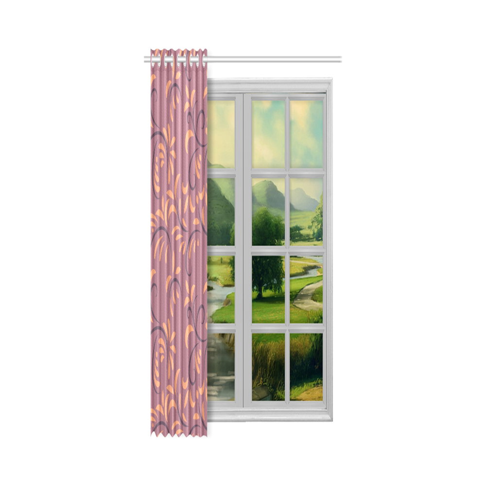 "Ethnic folk ornament New Window Curtain 50"" x 108""(One Piece)"