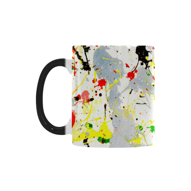 Yellow & Black Paint Splatter Custom Morphing Mug (11oz)
