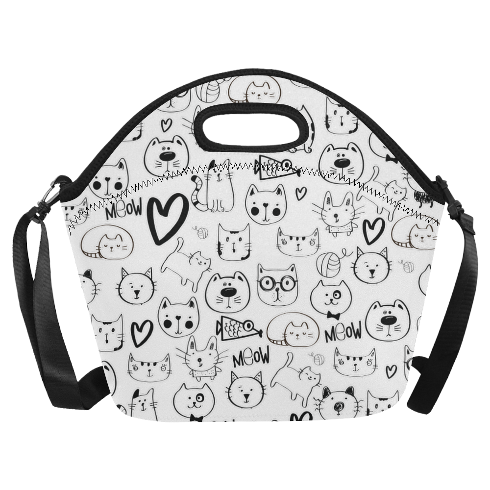 Meow Cats Neoprene Lunch Bag/Large (Model 1669)