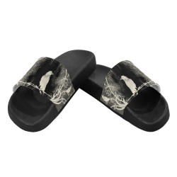 The crow with flowers, vintage design Women's Slide Sandals (Model 057)