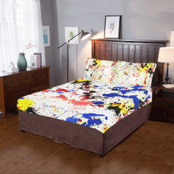 Yellow, Blue and Red Paint Splatter 3-Piece Bedding Set