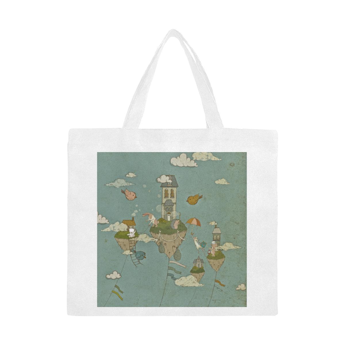Vintage Floating Islands Canvas Tote Bag/Large (Model 1702)