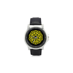 mandala amarillo chakra manipura:aumenta la confianza en uno mismo, Unisex Stainless Steel Leather Strap Watch(Model 202)