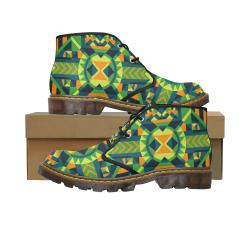 Modern Geometric Pattern Women's Canvas Chukka Boots/Large Size (Model 2402-1)