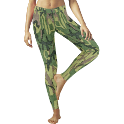 Military Camo Green Woodland Camouflage Low Rise Leggings (Invisible Stitch) (Model L05)